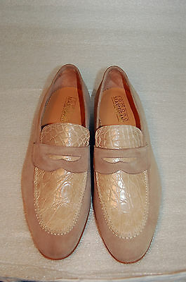 MAN - 44 - 10eu -PENNY LOAFER-LIGHT BEIGE SUEDE+GENUINE CROCODILE - LEATHER SOLE