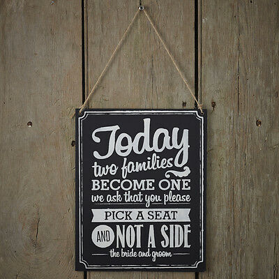 """Wooden Chalkboard Sign """"two Families Become One, Pick A Seat"""" Wedding Decoration"""