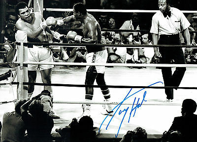 Larry HOLMES Signed Autograph Boxing 16x12 Hugh Photo Muhammad ALI AFTAL COA