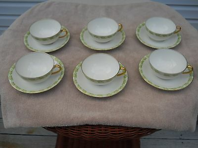 "LIMOGES FRANCE ""BAWO & DOTTER"" ELITE WORKS SET OF SIX TEACUPS AND SAUCERS DAISY"
