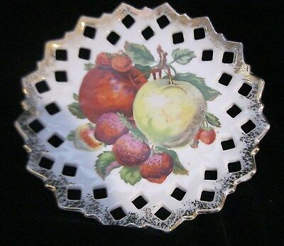 LOVELY RETICULATED HAND PAINTED PLATE WITH APPLE AND STRAWBERRY DESIGN