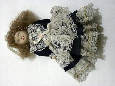 Hand craft ceramic 8 inch victorian Doll elegant blue&white gown free shipping