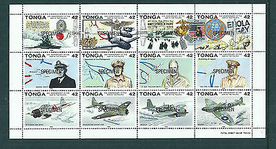 Tonga 1992 50th Ann War in the Pacific sheetlet opt SPECIMEN unmounted mint
