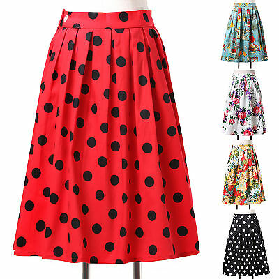 NEW RED BLACK Dots Vintage Retro Style Rockabilly Evening Midi Skirt Party Dress