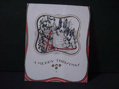 Vintage CHRISTMAS Card: 2 BOSTON TERRIERS in Gift Box Under the Tree