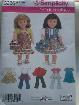 Simplicity Sewing Pattern #3936 for any 18 inch doll clothes