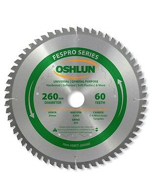 Oshlun SBFT-260060 260mm 60 Tooth FesPro General Purpose Blade for Kapex KS 120