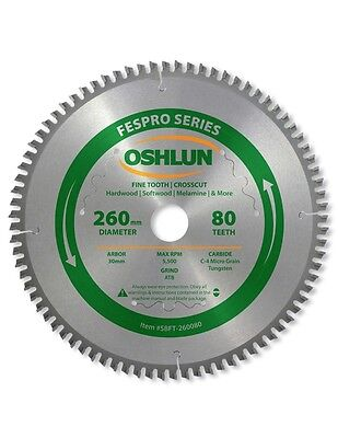 Oshlun SBFT-260080 260mm 80 Tooth FesPro Crosscut Blade for Festool Kapex KS 120