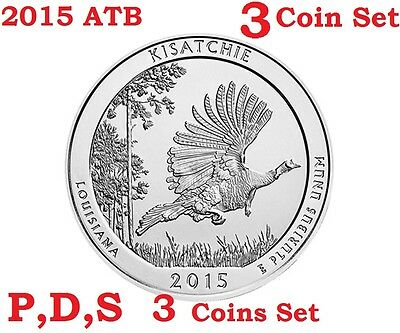 2015 P D S 3 Quarters set America the Beautiful Kisatchie National Forest coin