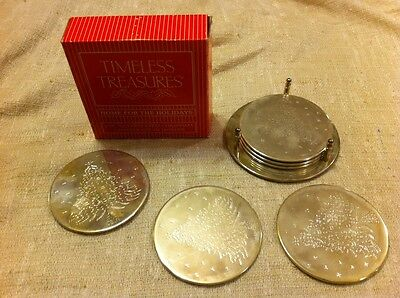 TIMELESS TREASURES-HOME FOR THE HOLIDAYS-6 PC SILVERPLATED CHRISTMAS COASTER SET