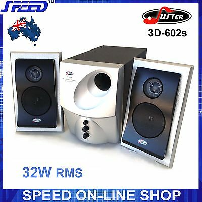 Juster 3D-602 Multimedia 2.1 Speaker System for Desktop PC, iPad, iPhone - 240V