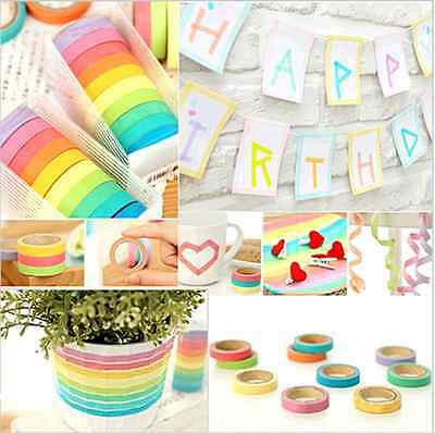 10 x Washi Tape Decor Sticky Masking Adhesive Tape Scrapbooking Sticker DIY New