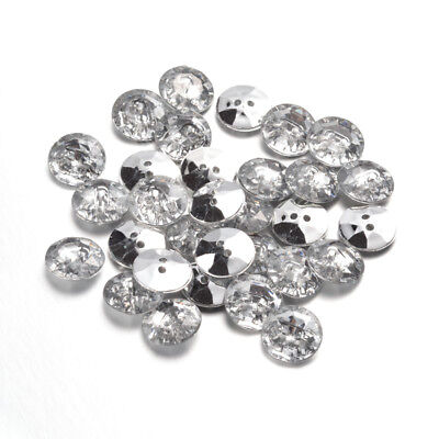50pcs Acrylic Rhinestone Buttons Faceted Silver Plated Rivoli Flat Round Clear