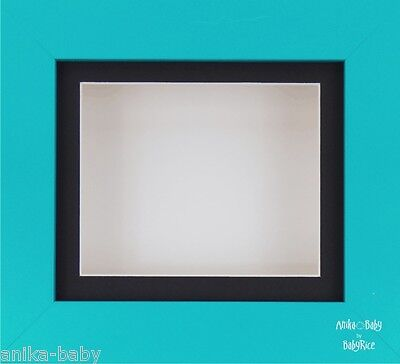 Blue Box Display Frame 3D Art Crafts Pictures Baby Boy Casts Black White
