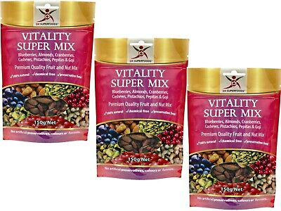3 x 150g DR SUPERFOODS Brain Booster Super Mix Cherry Cranberry Choc Goji Nuts
