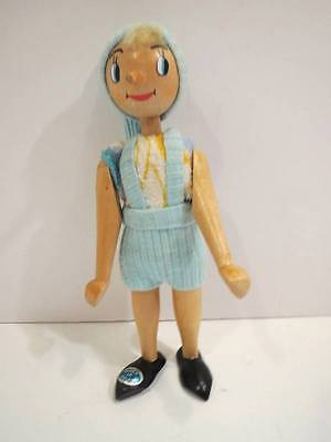Adorable Vintage Wooden Pinocchio jointed Figure Doll Toy Clothes Walt Disney