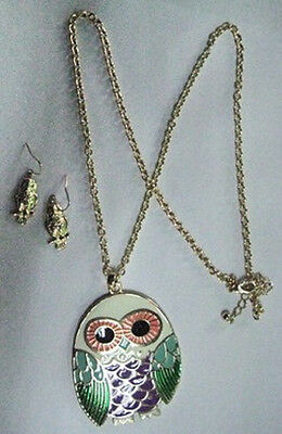 White, Purple, and Green Enamel Gold Toned Owl Necklace With Dangling Earrings