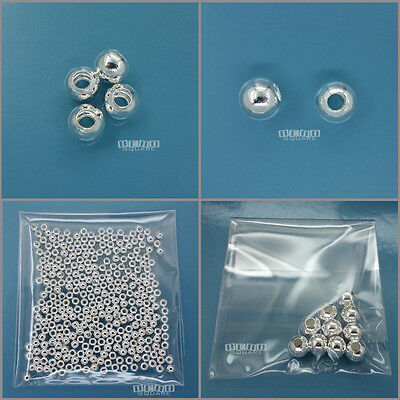 Solid Sterling Silver Seamless Round Bead Spacer (Option: 2mm Crimp to 12mm)