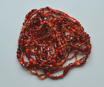 VINTAGE ART GLASS TRADE BEADS ROPE NECKLACE RED TONE 3 STRAND 60'' INCHES !!!