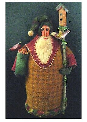 Primitive Handcrafted Folk Art Santa~Father Christmas w/Feathered Friends~OOAK