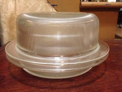 Heller Covered Glass Casserole designed by Vignelli Mid Century Style Heavy Rib