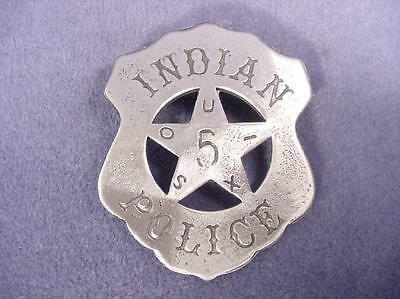INDIAN POLICE SIOUX SHIELD  BADGE( BADGES OLD WEST) FULL SIZE BADGE PIN BACK