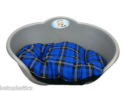 Large Plastic Silver Grey Pet Bed With Blue Tartan Cushion Dog Cat Sleep Basket