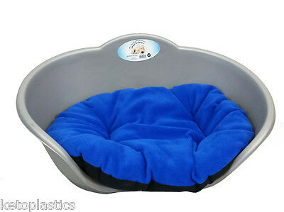 Extra Large Plastic Silver Grey Pet Bed With Blue Cushion Dog Cat Sleep Basket