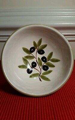 "Williams-Sonoma  5""  Bowl Olive Branch Green Rim, ITALY"