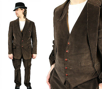 Corduroy Three 3 Piece Suit 42R 37x31 Vintage Steampunk Costume Dark Brown