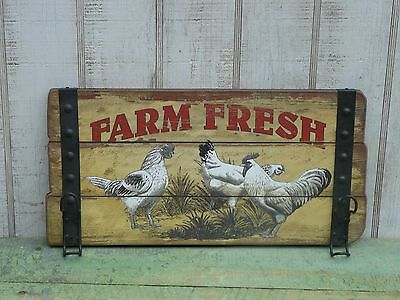 Primitive chicken/rooster farm fresh wooden sign farmhouse country home decor