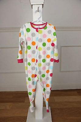 CARTER'S fleece pajamas girls size 3T white with polka dots