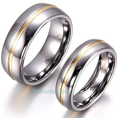 8mm/6mm Gold Groove Inset Tungsten Carbide Ring Men's Women's Engagement Band