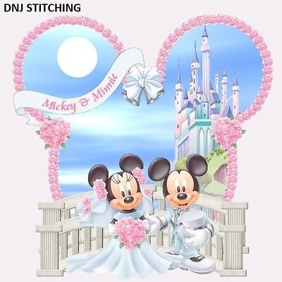 DISNEY'S MICKEY AND MINNIE MOUSE MARRIAGE CROSS STITCHING PATTERN. WEDDING, LOVE