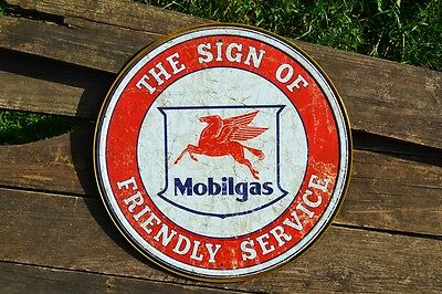 Mobilgas - Tin Metal Sign - Mobil Oil - Pegasus - The Sign of Friendly Service