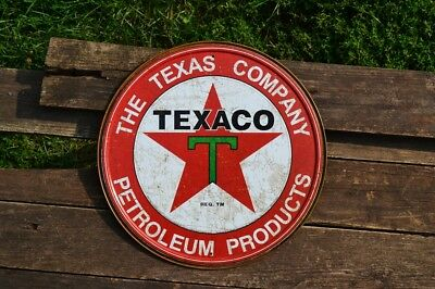 Texaco Motor Oil Tin Metal Sign - Petroleum - The Texas Company - Gasoline Retro