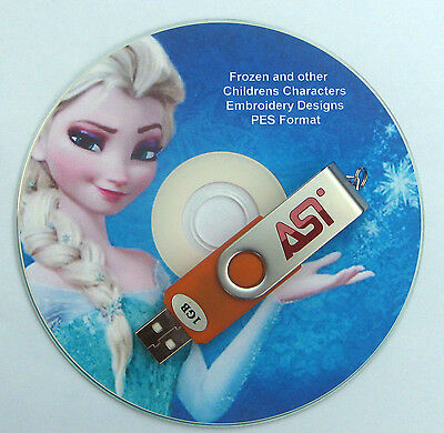 Pes Embroidery Designs Frozen Disney & 4800 Childrens Characters on USB Stick