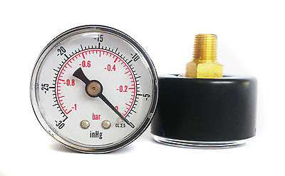 Vacuum Gauge 40mm Dial -30*Hg & -1/0 Bar 1/8 BSPT BACK and/or Hose Tails
