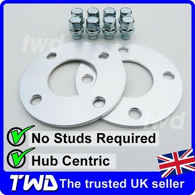 5MM ALLOY WHEEL SPACERS + EXTRA LONG NUTS FOR FORD (4x108 63.4 PCD) SHIM [2H8VS]