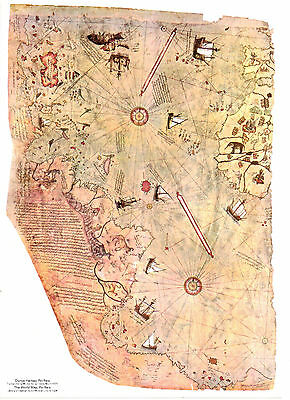 Piri Reis Vintage Map, Decorative Map, The first Map Show America A0 To A6 -133