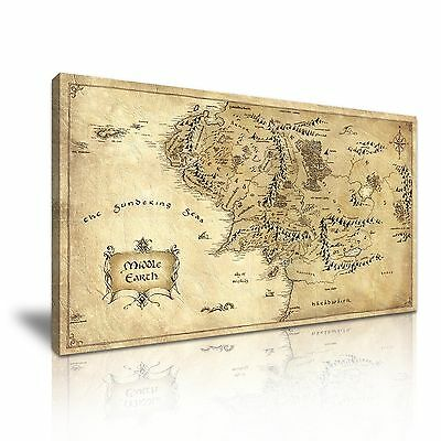 Hobbit Lord of the Rings Middle Earth Map Canvas Modern Home Wall Art Deco