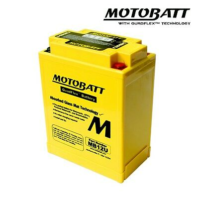 Motobatt MB12U Gel Motorcycle Battery Replacement for YB12A-A