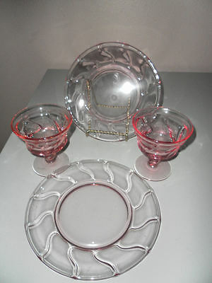 "Fostoria Jamestow Pink Rose set cup and desert salad plate 8"" two sets"