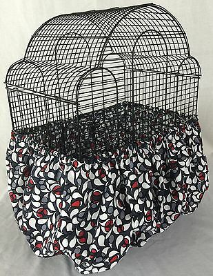 Handmade Black Red  BirdCage Skirt Seed Catcher Guard Cover Personalized Availbl