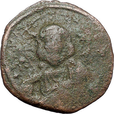 JESUS CHRIST Class A2 Anonymous Ancient 1025AD Byzantine Follis Coin i48279