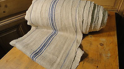 Homespun Linen Hemp/Flax Yardage 32 Yards x 18.5'' Blue Stripes   #6441