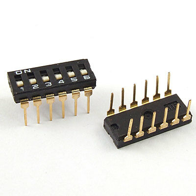 5 Pcs 2.54mm Pitch 6 Position IC Type DIP Switch Black