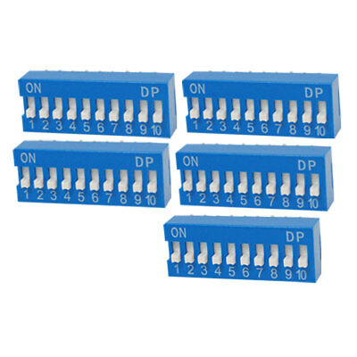 5 Pcs 2.54mm Pitch 10 Position Slide Type DIP Switch Blue Yltyt