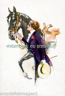 Antique Art Deco~Usabal~Pretty Woman in Purple~Black Horse ~ NEW Lge Note Cards