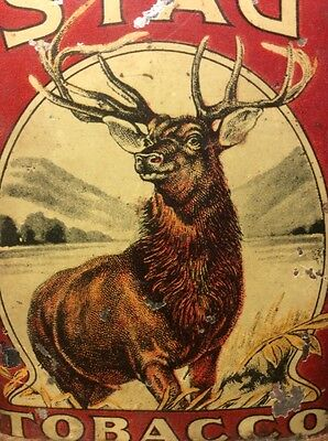 Vintage Stag Tobacco Tin Advertising Pocket Can Cigarettes Small Size Rare T1310